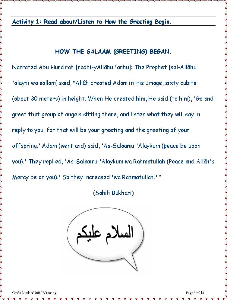 Alsalamgreetingsinislamimg4g activity 1 read aboutlisten to how the greeting begin m4hsunfo